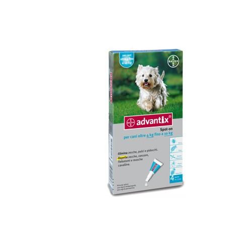 ADVANTIX SPOT ON*soluz 4 pipette 1 ml 100 mg + 500 mg cani da 4 a 10 Kg